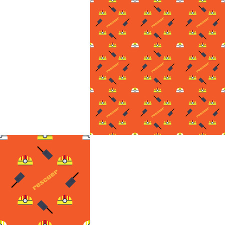 radio unit: Seamless pattern of Rescue and fire with yellow plastic helmets, dark gray radio and orange text on the dark orange background with pattern unit.