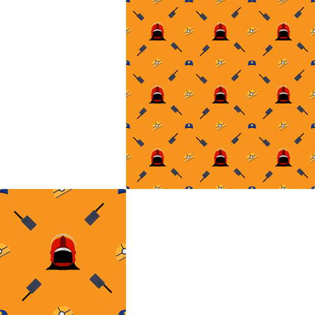 radio unit: Seamless pattern of Rescue and fire with gray radio and helmets on the yellow background with pattern unit.