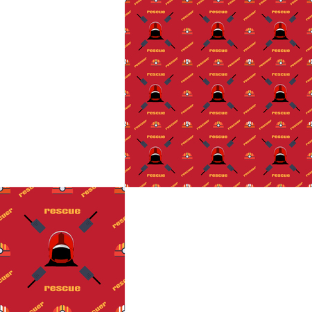 fireman: Seamless pattern of Rescue and fire with helmets, radio and yellow text on the red background with pattern unit. Stock Photo