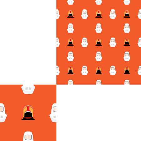 Seamless pattern of Rescue and fire with helmets on the orange background with pattern unit.