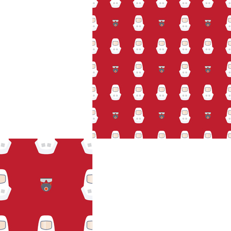 radio unit: Seamless pattern of Rescue and fire with respiratory mask, glasses and white helmets on the dark red background with pattern unit.