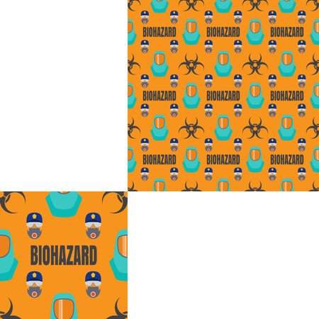 Seamless pattern of Rescue and fire with respiratory mask, glasses, police cap, biohazard text and turquoise helmets on the yellow background with pattern unit. Stock Photo