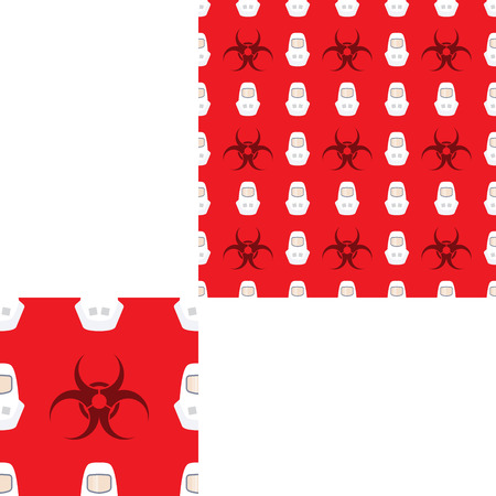 radio unit: Seamless pattern of Rescue and fire with biohazard sign and white helmets on the red background with pattern unit.