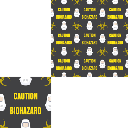 respiratory protection: Seamless pattern of Rescue and fire with biohazard sign, yellow text and white helmets on the dark gray background with pattern unit.