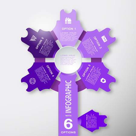 Vector infographic web element of lilac arrows with text on the gradient gray background.