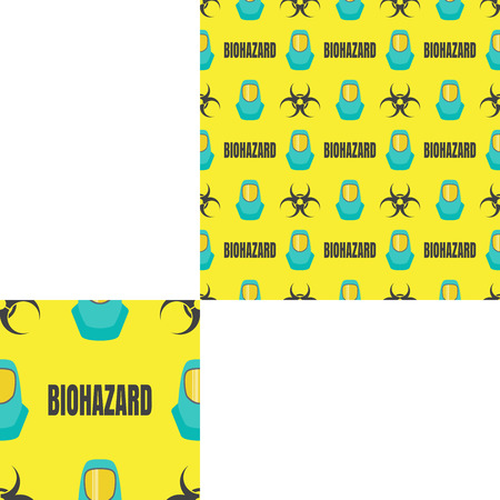 fireman: Seamless pattern of Rescue and fire with biohazard text and turquoise helmets on the yellow background with pattern unit. Stock Photo