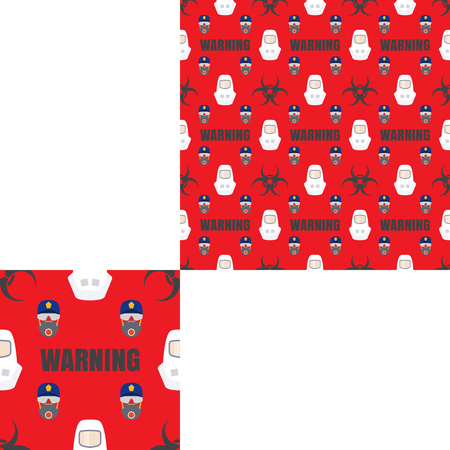 fireman: Seamless pattern of Rescue and fire with biohazard sign, text, respiratory mask, glasses, police cap and white helmets on the red background with pattern unit.
