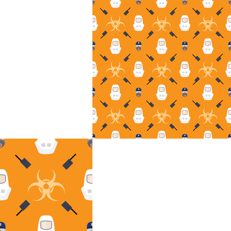 Seamless pattern of Rescue and fire with respiratory mask, glasses, police cap, radio, biohazard sign and white helmets on the yellow background with pattern unit.