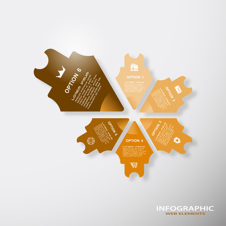 Vector infographic brown web element of arrows with text and icons on the gradient gray background. 向量圖像