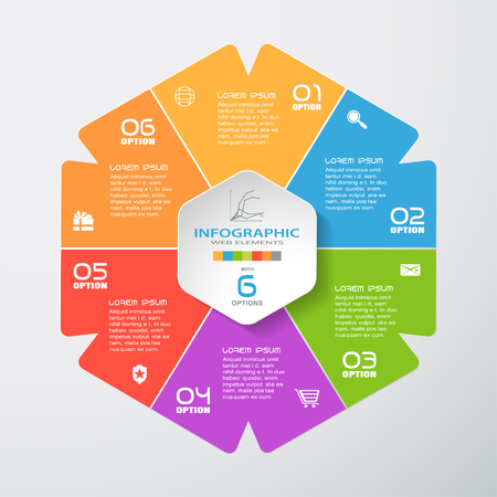 Vector infographic hexagonal color forms cut from paper with shadows, white text and icons