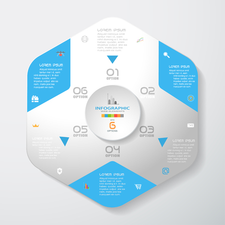Vector infographic of gradient gray convex hexagonal form with blue corners and concave circle cut from paper with shadows, text and icons on the gradient gray background.