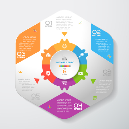 Vector infographic of gradient gray convex hexagonal form with color corners, color hexagon ring, triangles and concave circle cut from paper with shadows and icons on the gradient gray background.