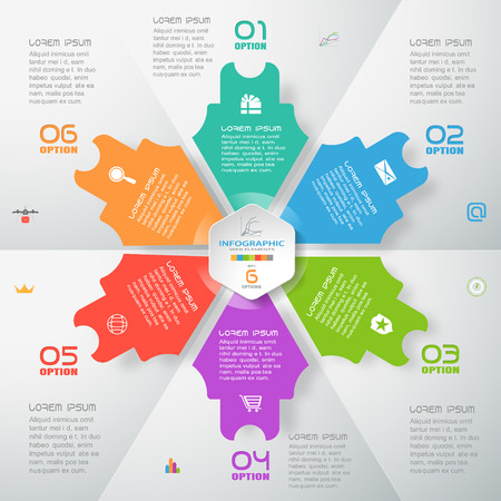 Vector infographic blue web element of color arrows and hexagon cut from paper with text, numbers and icons on the gradient gray background composed of segments. Illustration