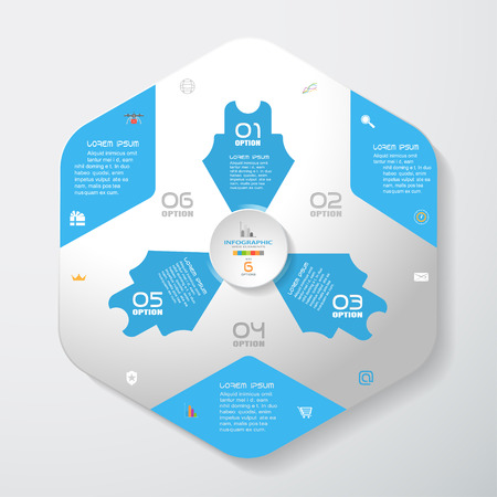 Vector infographic of gradient gray convex hexagonal form with blue corners and arrows, concave circle cut from paper with shadows, text and icons on the gradient gray background. Illustration