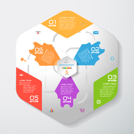Vector infographic of gradient gray convex hexagonal form with color corners, color arrows and concave hexagon cut from paper with shadows, text and icons on the gradient gray background.