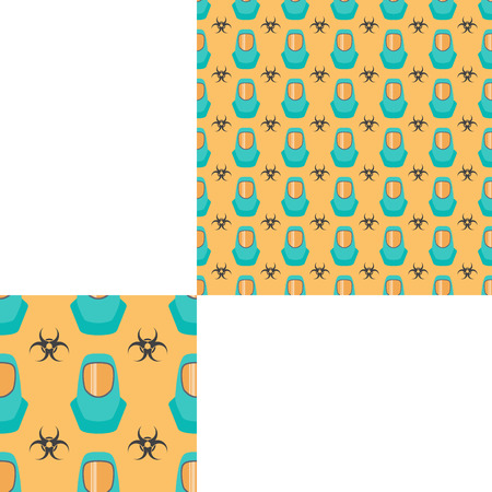 Seamless pattern of Rescue and fire with biohazard sign and turquoise helmets on the yellow background with pattern unit.