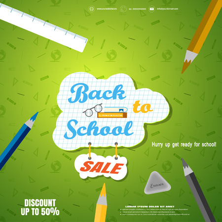 Back to school sale vector poster with a checkered piece of paper, pencils, eraser, ruler on the gradient green background with pattern.