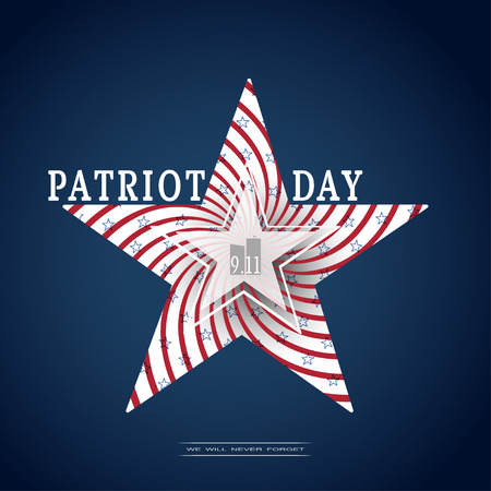 Vector poster of Patriot Day with silhouette in the shape of a star with spiral red stripes, blue stars and text on the dark blue background.