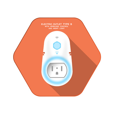 Vector isolated icon of white electric socket type B with blue backlight, night light and wireless control on the red hexagon background with shadow for use in USA and Canada. Illustration