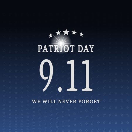 Vector poster of Patriot Day with text and glow on the dark blue background with stars.
