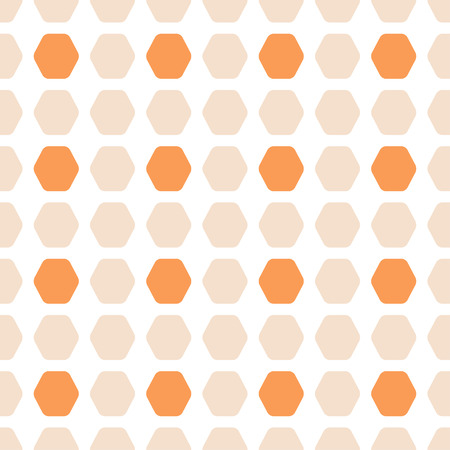 Abstract seamless pattern with orange and light beige hexagon shapes.