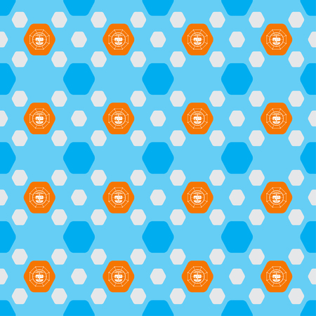 radio unit: Seamless pattern of drones in the orange hexagon shapes on the blue background. Stock Photo