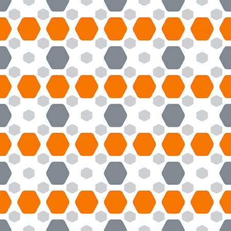 Abstract seamless pattern with orange and gray hexagon shapes on the white background.
