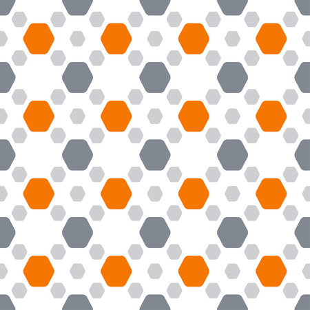 Seamless pattern with orange and dark gray hexagon shapes on the white background. Banco de Imagens