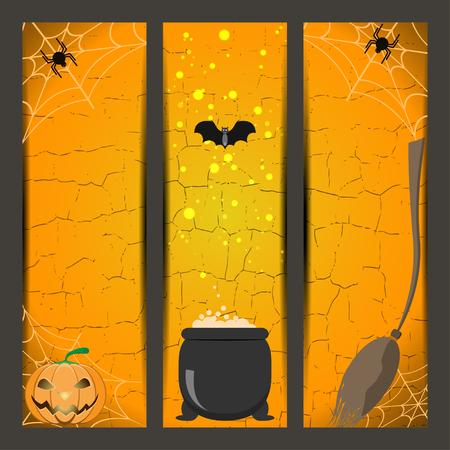 spider web: Set of Halloween bookmarks with broom, witch boiler, pumpkin, spider, bat on the gradient orange background.