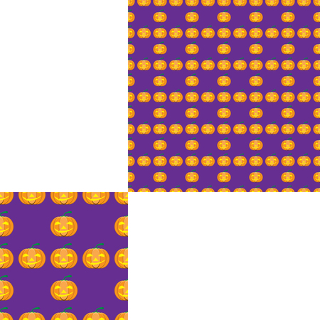green lantern: Halloween seamless pattern with yellow pumpkin on the lilac background with pattern unit.