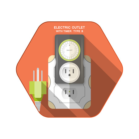 Vector isolated icons of green electric plug type B, dark gray timer with outlet and mechanical green ring switch insert in socket on the red hexagon background with shadow for use in USA and Canada.