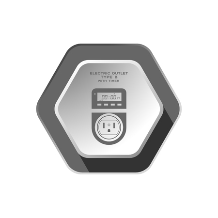 grounding: Vector isolated gray icon of electric socket type B with digital timer and LCD on the hexagon background with shadow for use in USA and Canada. Illustration