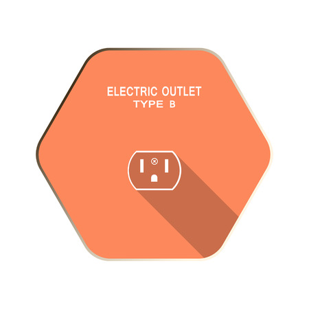 Vector Electric socket type B flat icon on the red hexagon background with shadow.