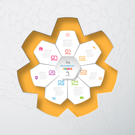 Vector infographic of hexagon form and white with 7 rays shape cut from paper placed to the star-shaped neckline with shadows on the yellow and gradient gray background with hexagon pattern.
