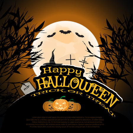 Vector poster for Halloween with full moon, silhouettes of trees, full moon, witch hat, flock of bats, headstones, grave crosses, group of pumpkins on the gradient dark brown background.