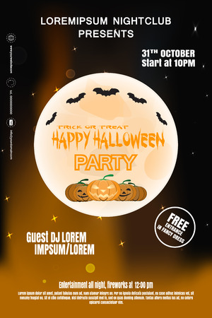 Vector poster for Halloween party night with full moon, flock of bats, group of pumpkins on the gradient dark brown background with text.