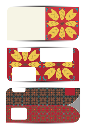Set of blank gift voucher with case in autumn style.