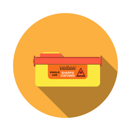 Vector isolated icon of sharps container with detachable lid, sticker and biohazard sign on the orange background.