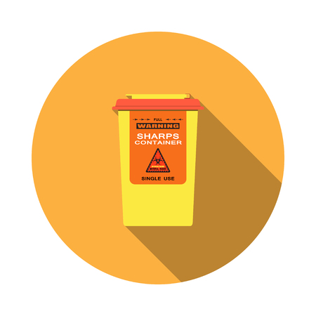 Vector isolated icon of sharps container with hinged lid, sticker and biohazard sign on the orange background.