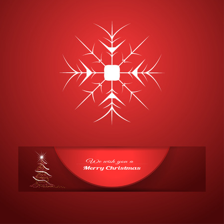 Vector poster with round red insert cut from paper hanging from cutout with shadow on the gradient red background with snowflake and Christmas tree.