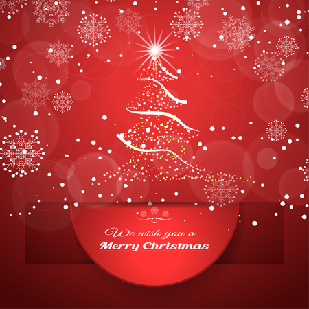Vector poster with round red insert cut from paper hanging from cutout with shadow on the gradient red background with snowfall and Christmas tree.