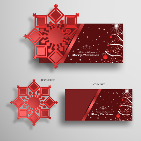 Vector set of greeting card for Merry Christmas with red snowflake and envelope with Christmas tree and snowfall.