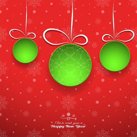 Vector wide red gradient poster to New Year holidays with green christmas balls cut from paper.