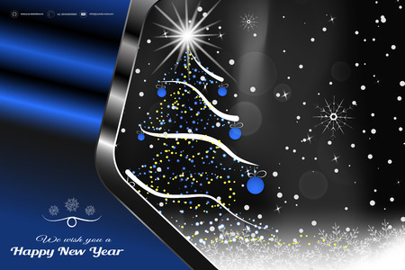 Vector Happy New Year poster in the metal blue frame with Christmas tree, blue balls, radiance and snowfall. Illustration