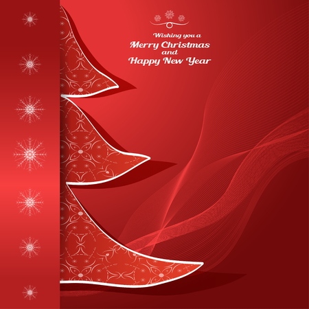 Vector greetings envelope of Wishing you a Merry Christmas and Happy New Year on the red background with wave, insert in the form of a Christmas tree with pattern and snowflakes. Illustration