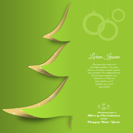 Vector cardboard art for Merry Christmas and Happy New Year with cutout silhouette in the form of a green Christmas tree, text on the green gradient background.