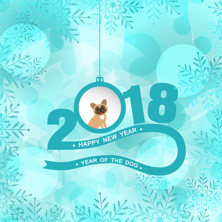 Vector poster for Happy New Year with numbers, stripe, hanging ball with dog and text on the turquoise background with snowflake pattern.