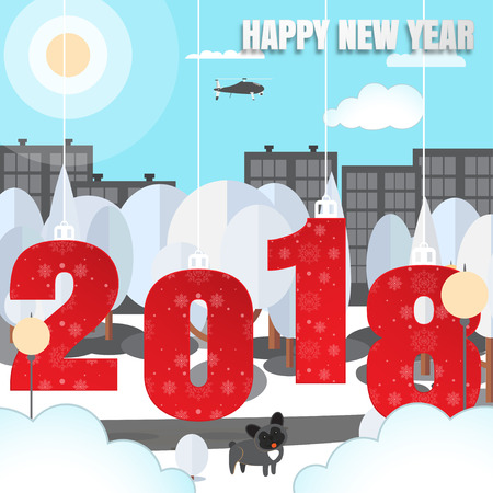 Happy New Year vector urban poster with city park, hanging numbers with pattern, trees, dog, fanned pillars, buildings, clouds, helicopter, sun cut from paper.