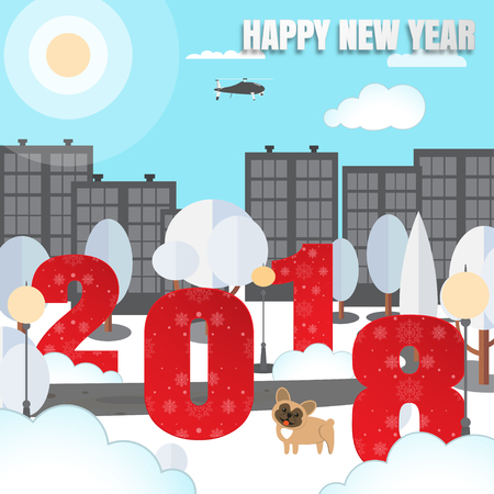 Happy New Year vector urban poster with city park, numbers with pattern, trees, yellow dog, fanned pillars, buildings, clouds, helicopter, sun cut from paper. Illustration
