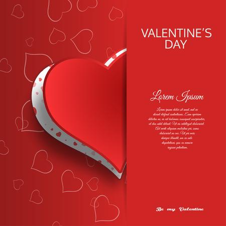 Carta di San Valentino felice con motivo a cuore Archivio Fotografico - 93154773